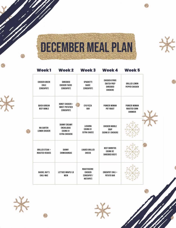 December Meal Plan